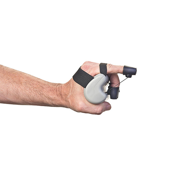 One finger being extended on the Constant Force X-Tend light resistance hand exerciser