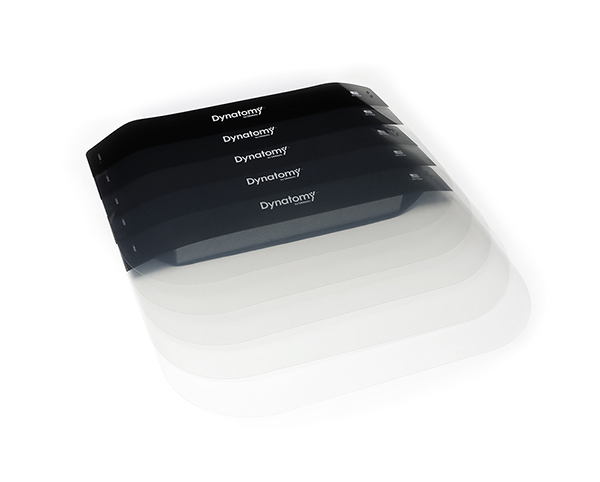 Stack of 5 clear face shields